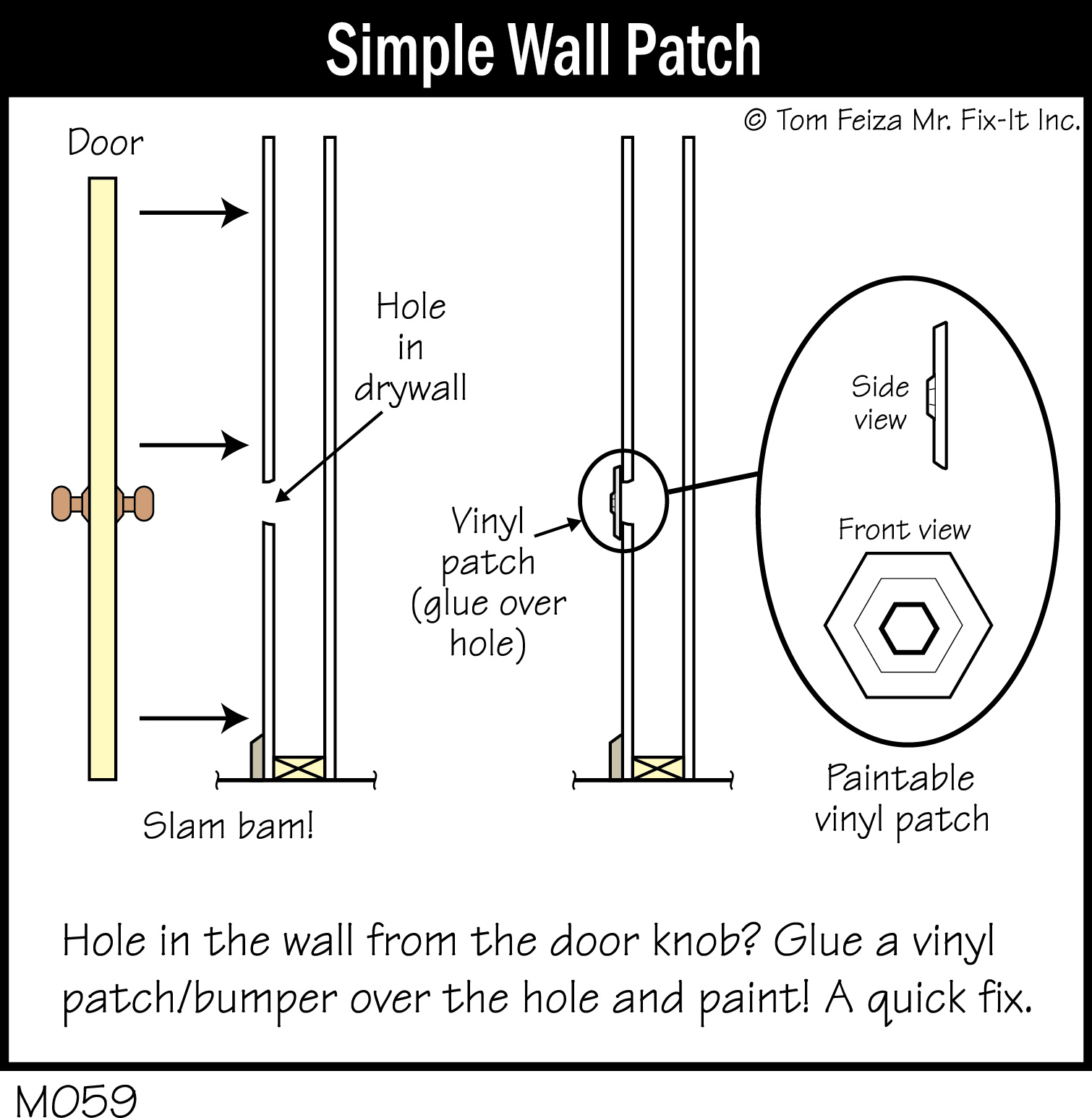 M059C - Simple Wall Patch_300dpi  sc 1 st  Tom Feiza & Quick Tip #29 \u2013 Patch the Hole Behind the Door | MisterFix-It.com