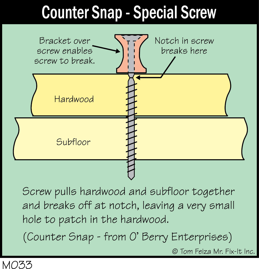 How to fix hardwood floors that squeak - M033c Counter Snap Special Screw_300dpi
